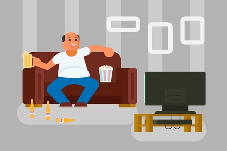 Vector illustration of cartoon man watching TV drinking beer and eating popcorn while sitting on sofa in living room. Flat style design.
