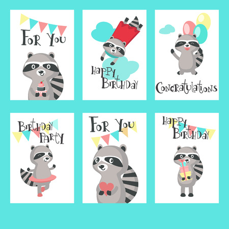 Cute Raccoon Birthday Cards Happy Birthday Greeting Card