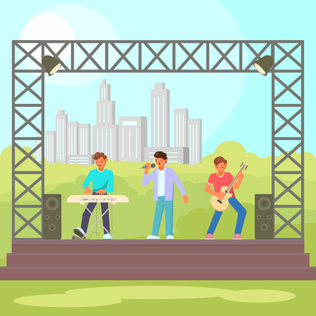 Vector illustration of musicians keyboardist, guitarist and singer performing on outdoor concert stage. Open-air concert, music festival concept flat style design element. Banco de Imagens - 103947238