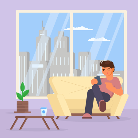 Vector illustration of young man with smartphone sitting on sofa in living room. Flat style design. Иллюстрация