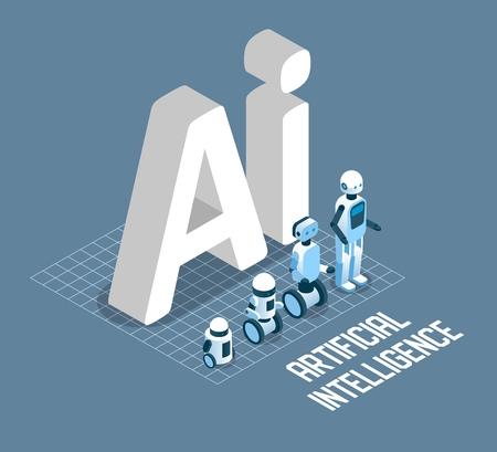 Ilustración isométrica de vector de concepto de inteligencia artificial. Letras de AI y símbolos de máquinas robóticas para carteles, pancartas, etc. Ilustración de vector