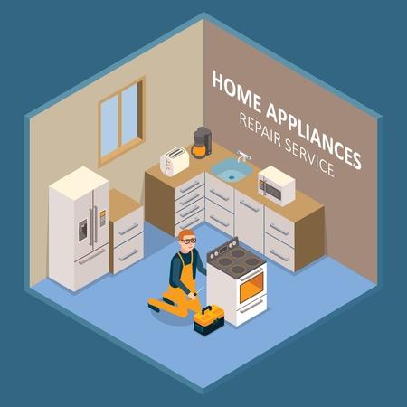 Huishoudelijke apparaten reparatie dienstverleningsconcept. Vector isometrische opengewerkte keuken interieur met reparateur servicecentrum werknemer repareren of installeren van elektrisch fornuis.