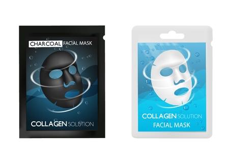 Ensemble de maquette réaliste de vecteur de masque facial
