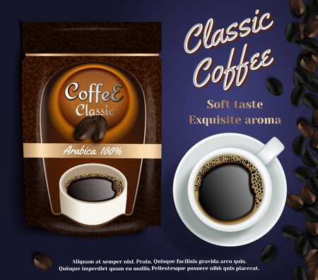 Instant coffee ads vector realistic illustration Illustration