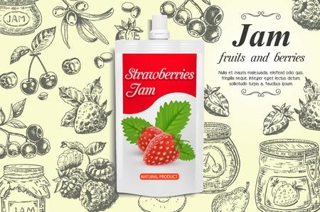 Strawberry jam ads vector design template