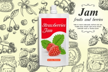 Strawberry jam ads vector design template