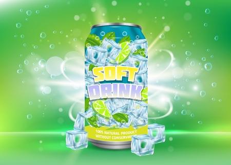 Lemon soft drink poster vector design template