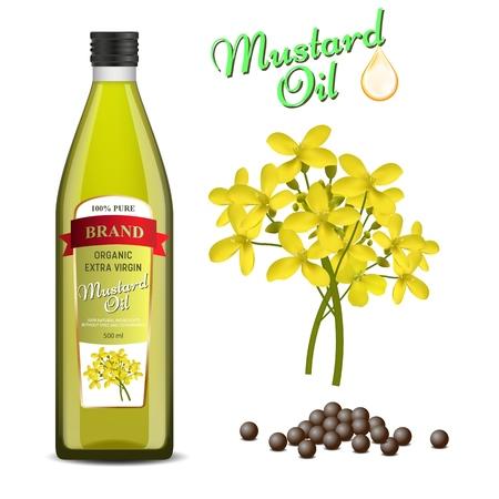 Mustard oil set vector realistic illustration