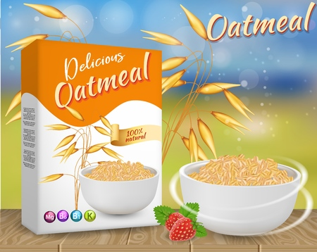 Oatmeal ads vector realistic illustration Banco de Imagens - 104142778