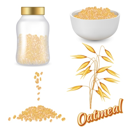 Oatmeal set vector realistic illustration Illustration