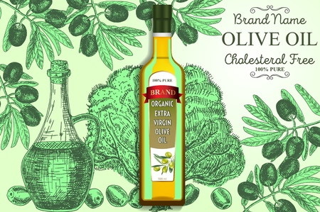 Olive oil ads vector poster, banner template