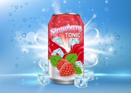 Modèle de bannière d'affiche de vecteur tonique aux fraises