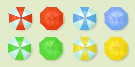 Summer beach umbrella vector icon set