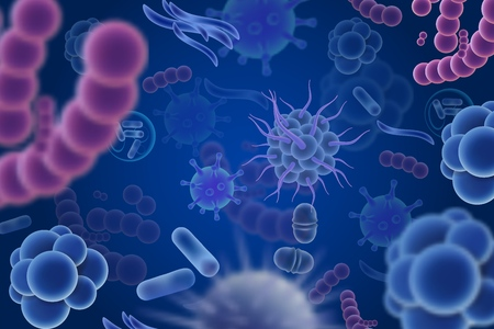 Vector abstract background with viruses, microbes 스톡 콘텐츠 - 104142961