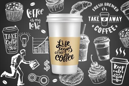 Ilustración creativa de vector de anuncios de café para llevar
