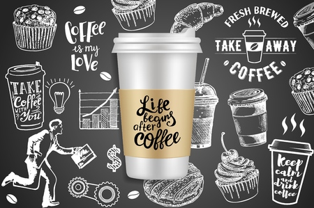 Take away coffee ads vector creative illustration