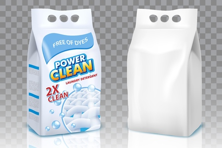 Washing powder bags vector realistic mockup set