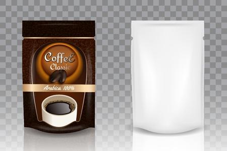 Instant koffie verpakking vector realistische mockup Stockfoto - 104143055