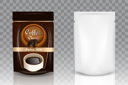 Instant coffee packaging vector realistic mockup