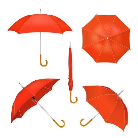Red folded opened umbrellas vector illustration
