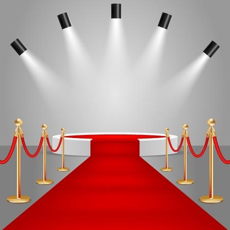 Schijnwerpers en wit rond podiumpodium met rode loper. Realistische vectorillustratie. Rode loper evenement ontwerpelement. Vector Illustratie