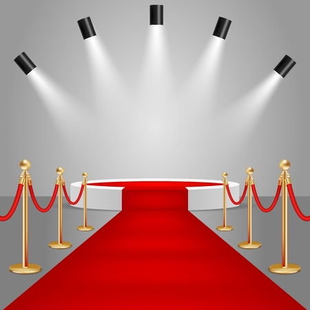 Spotlights and white round stage podium with red carpet. Vector realistic illustration. Red carpet event design element.