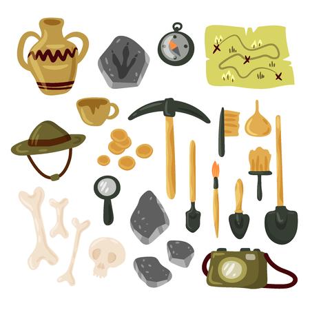 Conjunto de iconos de arqueología ilustración vectorial aislada Ilustración de vector