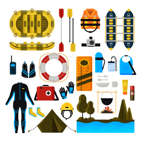 Rafting icon set. Vector illustration of white water rafting sport equipment, protective gear and camping items isolated on white background. Banco de Imagens - 104295508