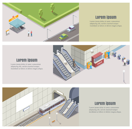 Vector isometric subway underground banner set