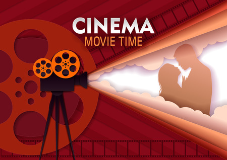 Cinema movie time vector paper cut poster template 向量圖像