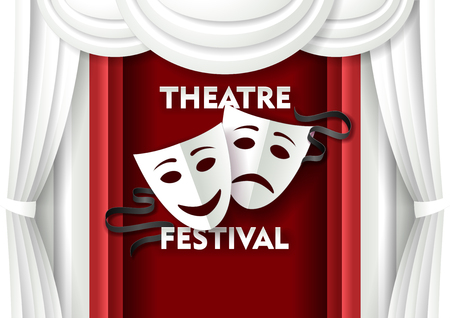 Vector paper cut theater festival poster template