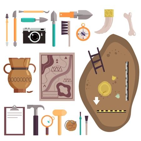Jeu d'icônes d'archéologie vector illustration isolé