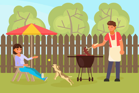 Family couple having backyard bbq. Woman playing with pet dog while sitting on chair and man cooking meat on barbeque grill. Vector flat style design illustration. Illustration