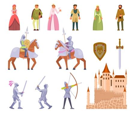 Jeu d'icônes de chevalier médiéval, illustration vectorielle plane Vecteurs