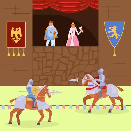 Escena de la justa de los caballeros medievales. Ilustración de vector de familia real mirando pelea entre caballeros montados con armadura y lanzas. Diseño de estilo plano de torneo de caballeros de la edad media. Ilustración de vector