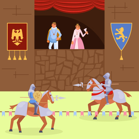 Mittelalterliche Ritter-Turnier-Szene. Vektorillustration der königlichen Familie, die den Kampf zwischen berittenen Rittern trägt, die Rüstung tragen und Lanzen verwenden. Mittelalter Ritter Turnier flaches Design. Vektorgrafik