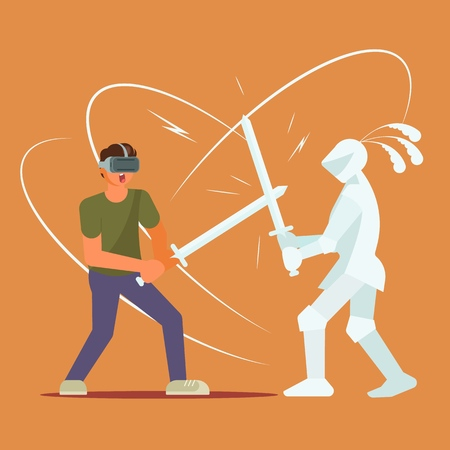 Virtual reality technology and entertainment concept vector illustration. Boy in VR headset fighting with knight using sword. Flat style design.