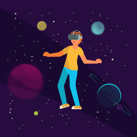 Virtual reality technology and entertainment concept vector illustration. Boy in VR headset flying in outer space with planets and stars. Space VR game.