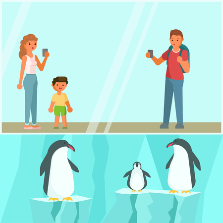 Zoo animals vector flat style design illustration. Happy family father, mother with their son photographing cute penguin family. Illustration