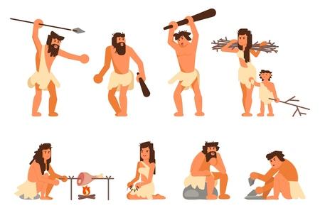 Conjunto de iconos de personas de la edad de piedra. Ilustración de diseño de estilo plano de vector de gente primitiva cavernícola cazando, cocinando, recogiendo matorrales, haciendo herramientas de piedra aisladas sobre fondo blanco. Ilustración de vector