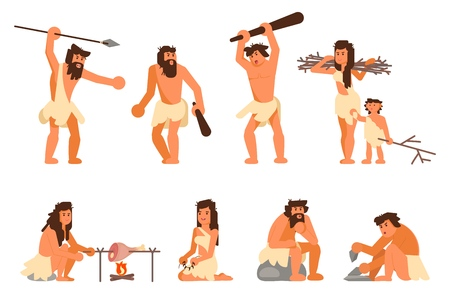 Stone age people icon set. Vector flat style design illustration of primitive people cavemen hunting, cooking, gathering brushwood, making stone tools isolated on white background.