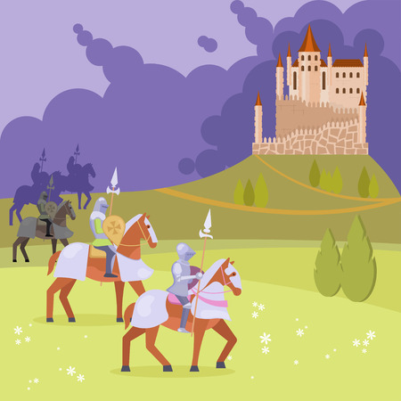 Medieval scene with armored knights on horseback with lances coming near to castle standing on hill. Vector flat style design illustration.