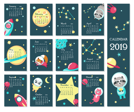 Year 2019 calendar vector template. Yearly calendar showing months with cute space animals, rockets, planets, constellations. Ilustração