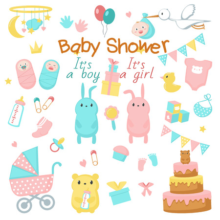 Baby shower icon set. Vector hand drawn illustration of cute newborn babies, funny pink and blue animals bunnies bears, sweets, party decorations. Baby shower invitation greeting card design elements. Vettoriali