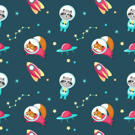 Nette Tiere im Weltraumvektor nahtloses Muster. Kreatives Design mit lustigem Waschbär und Fuchs im Kosmos für Stoff, Textil, Tapete, Geschenkpapier. Vektorgrafik