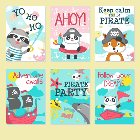 Pirate party invitation card template set. Vector illustration of cute animals panda, raccoon, fox in pirate hats, ship with pirate flags, jellyfish with eye patch, handwritten quotations. Vettoriali