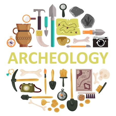 Archaeology icon set with archeology lettering. Vector illustration of archaeological tools, ancient artifacts isolated on white background.