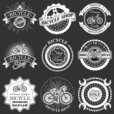 Vector set of retro bike shop repair labels badges Illustration
