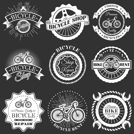 Vector set of retro bike shop repair labels badges