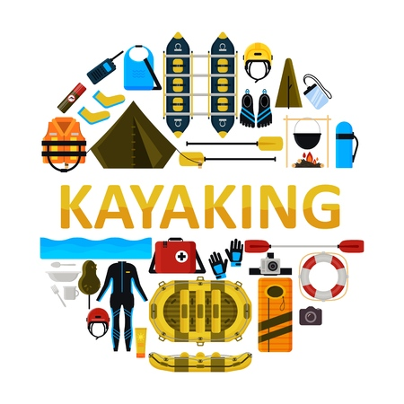 Kayaking icon set. Vector illustration of water sport equipment, protective gear and camping items isolated on white background.